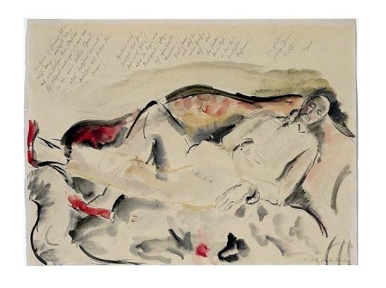 Rilke dormant sur un petit sofa a Muzot