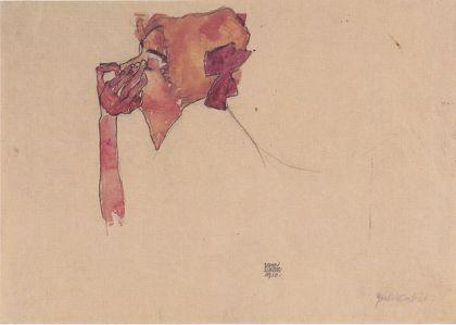 Gerti Schiele mit Haarmasche